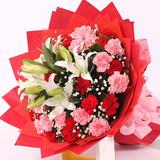 爱你--20朵康乃馨加2支白百合花束